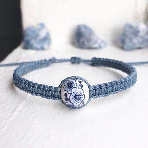 Blossom Porcelain Bead, Dusty Blue Waxed Bracelet